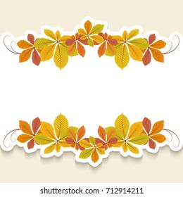 Autumn background, cutout paper frame with border ornament of yellow chestnut leaves, vector greeting card or invitation design, eps10
