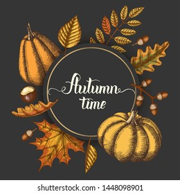 Autumn background with hand drawn leaves and pumpkins and lettering calligraphy phrase on black. Thanksgiving day