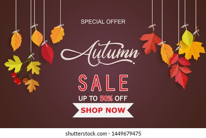 Autumn background and handwriting. autumn design with leaves. background, template and poster design