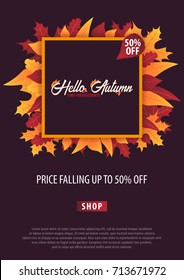 Autumn Background with leaves. Autumn fall sale banner. Vector illustration.