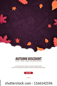 Autumn Background with leaves. For shopping sale, promo poster and frame leaflet, web banner. Vector illustration template
