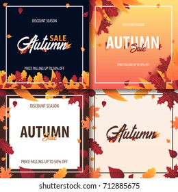 Autumn Background with leaves for shopping sale or promo poster and frame leaflet or web banner. Vector illustration template