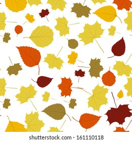 The autumn background made out of falling leaves / The abstract fall background / The fall
