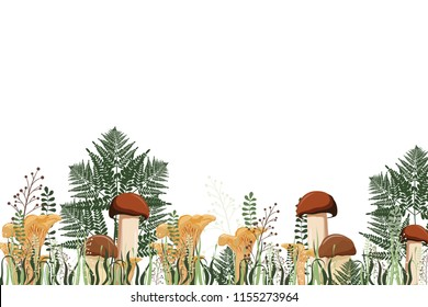 Autumn background with mushrooms and herbs. Vector illustration. Grass and mushroom border.