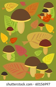 Autumn background with mushrooms and leaves in forest
