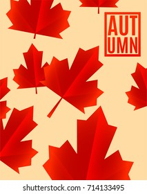 Autumn background with Red fall leaves. Vector illustration EPS10