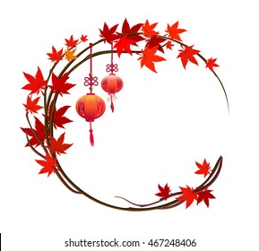 Autumn background with red maple leaves, Chinese festival. On branch hanging lanterns. It frame can be used for greeting card and invitations.
