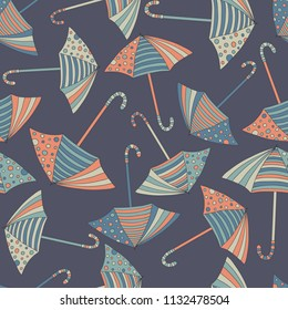 Autumn background. Seamless pattern with hand-drawn colorful umbrellas