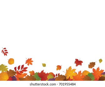 Autumn Background with space for text. Hand drawn leaves falling and flying because of the fall wind