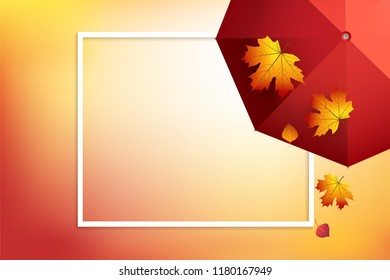 Autumn background with umbrella and colorful autumn leaves. Fall frame vector illustration