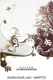 autumn background,floral,vector illustration