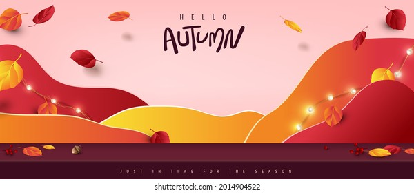 Autumn banner background with studio table room product display decorate Variety of autumn leaves falling