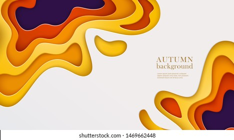 Autumn banner with multi layered shapes in paper cut style. Yellow, orange, red, ultraviolet, white color palette. The effect of 3D in papercraft art. Vector