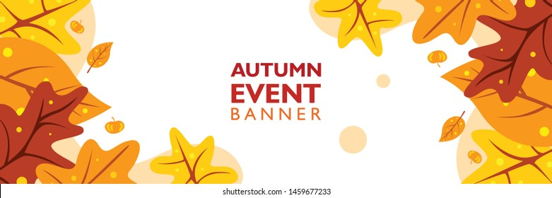 Autumn banner template with fall maple leaves shape on gradient background. Poster, flyer, leaflet layout for event, party, festival and concert.