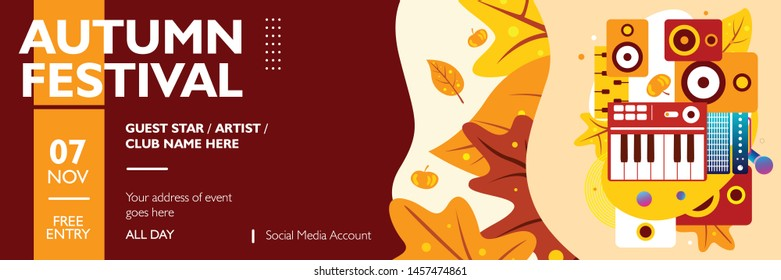 Autumn banner template for festival, event, party, and concert. Poster layout autumn theme with fall maple leaves on colorful background. Vector illustration