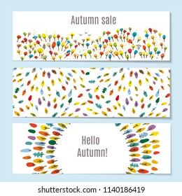 Autumn banners set with forest, park, leaves. Vector graphic illustration