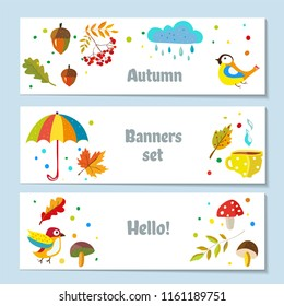 Autumn banners set with nature elements, cute design. Vector graphic illustration