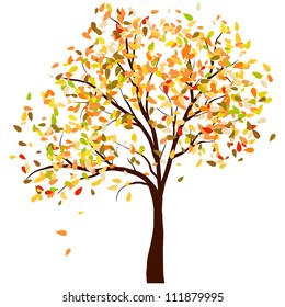 Autumn Birch Tree With Falling Leaves on White Background. Elegant Design with Text Space and Ideal Balanced Colors. Vector Illustration.