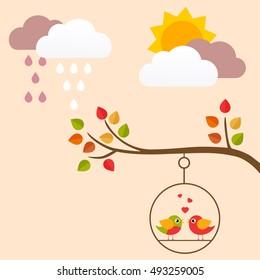 autumn bird on a swing on a branch