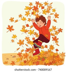 Jumping Into Leaf Pile Images Stock Photos Vectors Shutterstock