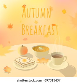 Autumn breakfast vector illustration. Fall morning. Table with food and coffee. Red, orange and yellow falling autumn leaves on background.