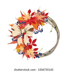 Autumn bright beautiful wreath of leaves and grapes vector vine berries bright leaves use for cards decoration banner sticker illustration book
