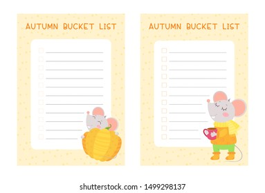 Autumn bucket lists flat vector templates set. Weekly and daily children planner pages designs pack. Cute mice holding pumpkin and tea cup cartoon characters. Diary, notepad checklist layout
