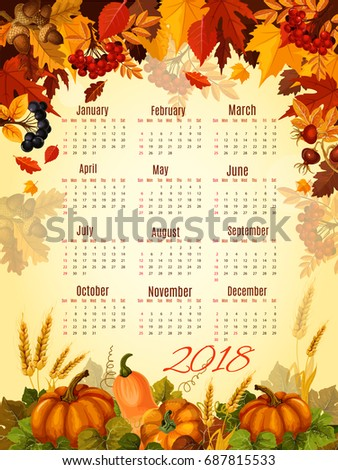 autumn calendar 2018 template of thanksgiving day pumpkin and forest berry harvest vector design or