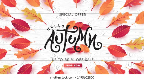Autumn calligraphy on white wood. Seasonal lettering.autumn sale  banner background.vector illustration