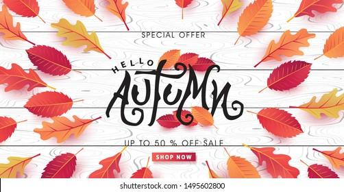 Herbstkalligraphie auf weißem Holz. Saisonale Schrift.Herbstverkauf, Banner-Hintergrund.Vektorgrafik