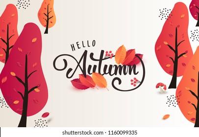 Autumn calligraphy. Seasonal lettering.web banner template.vector illustration