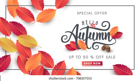 Autumn calligraphy. Seasonal lettering.web banner template.vector illustration