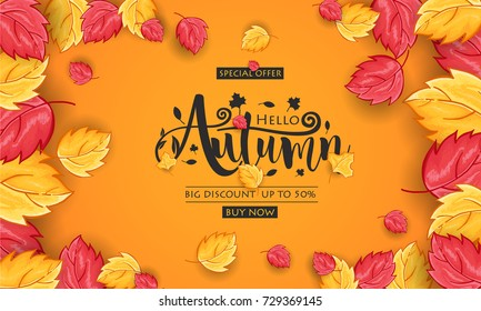 Autumn calligraphy. Seasonal lettering for web banner template, Postcard and Invitation Card. Vector illustration