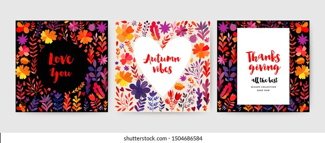 Autumn cards collection. Autumn leaves cards set . Vector Thanksgiving day invitation and greeting cards, flyer, banner, poster templates. Hand drawn herbs, flowers and leaf.