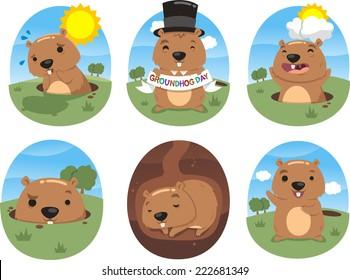 autumn celebration groundhog day vector illustration action set