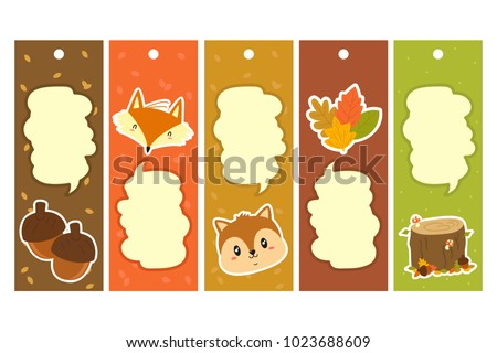 autumn characters items bookmark template printable stock vector