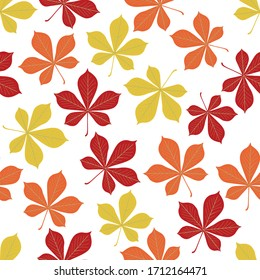 Autumn chestnut leaves pattern. Seamless vector illustration. Ideal for packaging eco-friendly products, scrapbooking, eco-style party design 300 dpi.