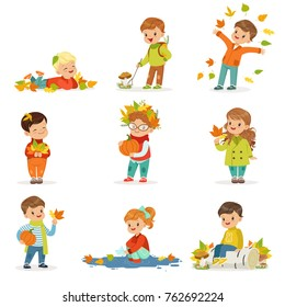 Autumn children s outdoor seasonal activities set. Collecting leaves, playing and throwing leaves, picking mushrooms, holding a pumpkin. Flat vector.