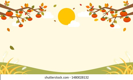 Autumn Chuseok Background vector illustration. Persimmon trees frame with copy space