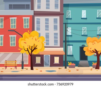 Autumn city with falling leaves. Houses on street with road in town. Flat cartoon style vector illustration.