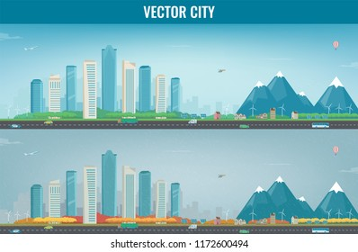 Autumn City landscape and suburban landscape. Building architecture, cityscape town. Modern city and suburb. Vector illustration