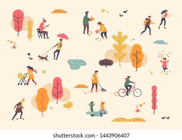 Autumn in city park. Lovely minimalist vector background on joys of fall season with people having a great time outdoors