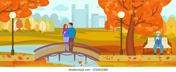 Autumn in the city. Park with trees and a bridge. Season. Warm autumn. A couple in love stands on a bridge across a small river. vector illustration