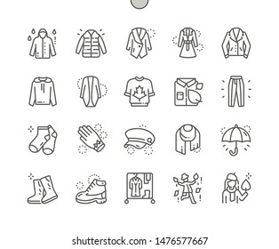 Autumn clothes Well-crafted Pixel Perfect Vector Thin Line Icons 30 2x Grid for Web Graphics and Apps. Simple Minimal Pictogram