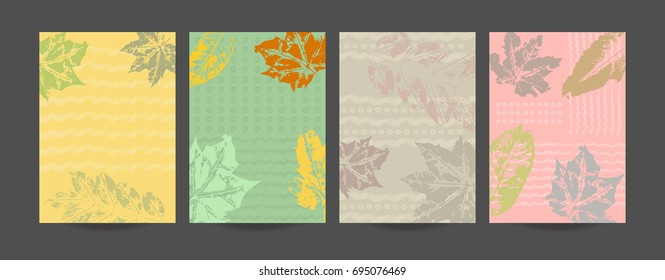 Autumn Collection of creative artistic cards. Hand Drawn textures(mask), Abstract Brush elements, trendy Graphic Design for banner, poster, cover, invitation, placard, brochure, flyer.