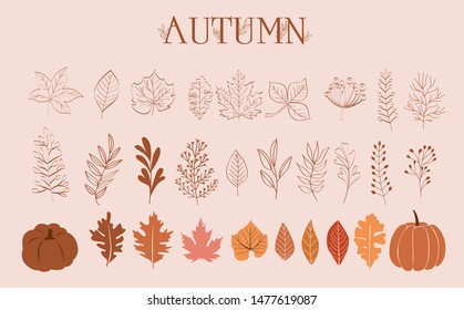 Autumn Collection of leaves, branches and pumpkins in one line style. Editable Vector illustration
