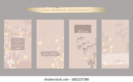 Autumn collection set trendy chic social media stories backgrounds with botanical floral motifs and gold foil touch in nude beige pastel color palette