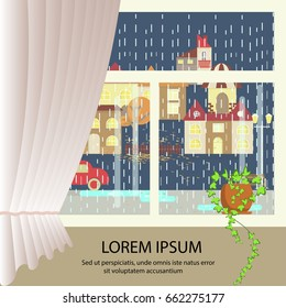 Autumn colorful landscape banner. window view of Rainy weather. Small town landscape in flat style. Heavy shower Vector illustration