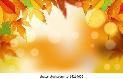 Autumn colorful leaves decoration banner or poster design with blurred lighting background. Space for your message.