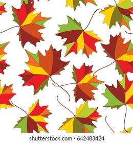 Autumn colorful maple leaves, seamless pattern of fall season. Back to school, hello autumn background